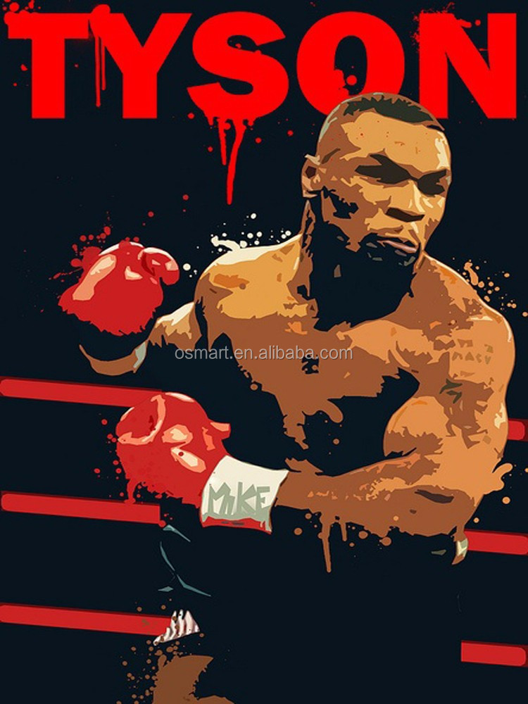 Wholesale Price Handmade King Of The King Boxing Emperor Mike Tyson Oil Painting On Canvas For Wall Decoration Artwork