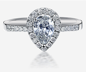 Carraton High Quality CZ Diamond Big Pear Shape 925 Silver Engagement Ring