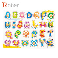 High Quality Wood Toy Alphabet Learning Puzzle for Preschool Children Peg Puzzle