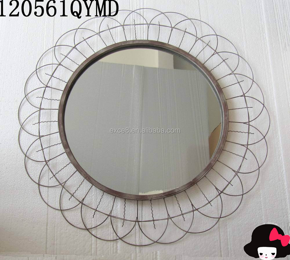 Sunflower style round metal wire meshes framed wall mirror
