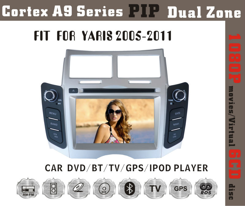 Fit for Toyota yaris 2005-2011 cortex A9 1080P BT TV GPS IPOD multimedia car dvd player dvd + gps