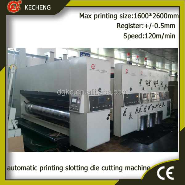 High speed corrugated carton 3 color flexo printer slotter die cutter machine