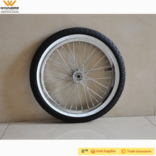 16 inchx2.125 inch steel spoke rim with white bar tire