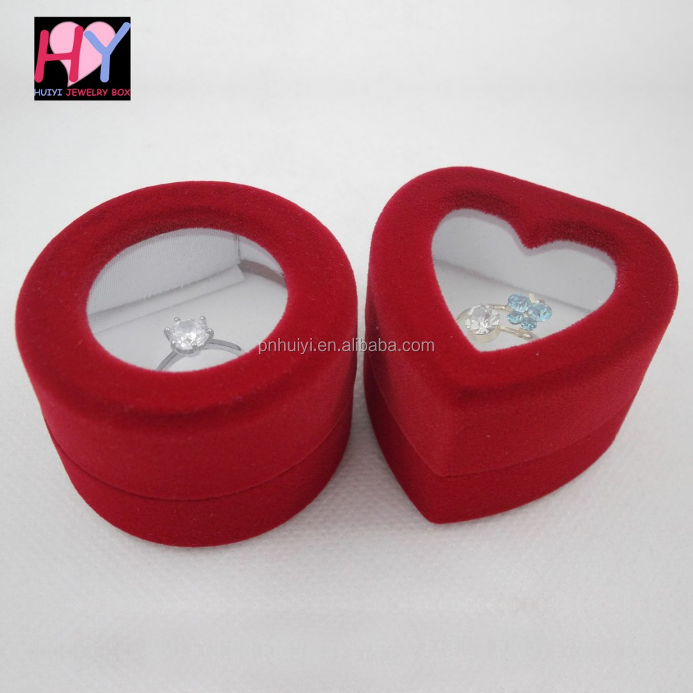 Wedding plastic velvet jewelry heart round shaped ring box for Heart shaped engagement ring box