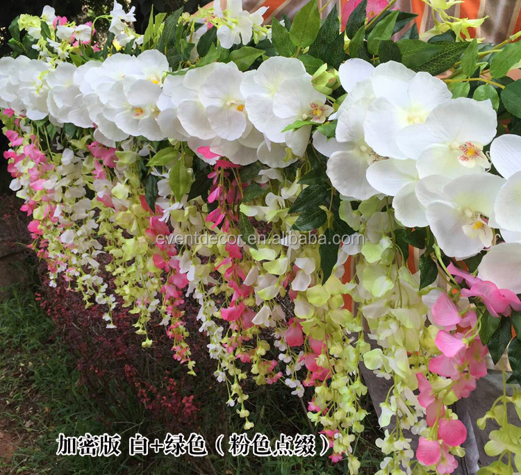 White pinke and green decoration flower vine for 2016 hot sale wedding decoration