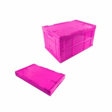 Collapsible Folding Tote Stackable Plastic Crate With Lid