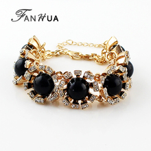 Pulseira Feminino Gold Color Alloy Red Black Yellow Blue Color Rhinestone Indian Bangles Chain Adjustable Bracelet For Women