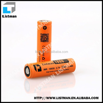 Listman 30A 18650 1600mah discharge 3.7v lmr li-mn rechargeable battery