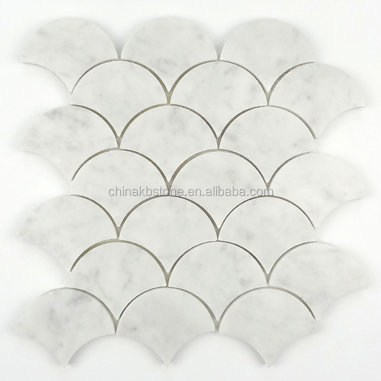 fish scale pattern water jet mosaics, marble mosaic tiles for floor deco