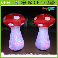 wedding stage pillar decoration with inflatable mushroom ball with led light