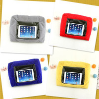 Hot cake pad support flocking velour outcover leather inner polystyrene micro beads filling triagnle cushion for ipad