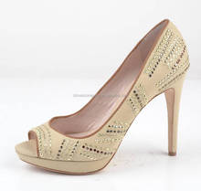 Classy studded peep toe ladies party shoes spike high heel