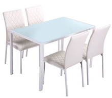 Free sample cheap classic 4 seater modern fiber glass top dining table set/dining table and chair