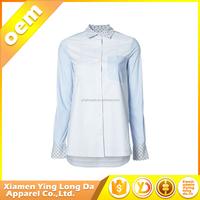 Low price latest women long sleeve embroidery denim shirt
