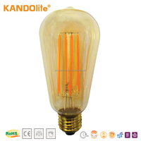 Dimmable LED Lamp Bulb Long Filament LEDs ST68 220-240V 2.5W/4W/7W 1800K CE/RoHS Base E27/B22 A+Energy saving