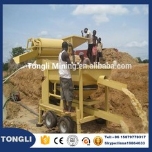 Portable type turnkey small mini rotary drum mobile gold trommel screen machine price for alluvial gold washing plant Ghana