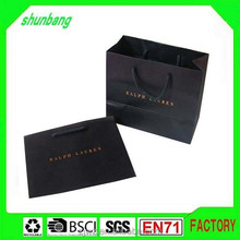 2015 black brand Luxury laminated manila carrier paper hand bag