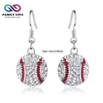 Wholesale Jewelry Personalized Baseball Bling Earring