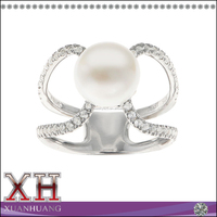 Sterling Silver White Freshwater Pearl and White Topaz Ring