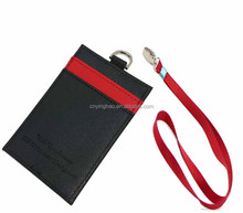Colorful Leather Business Student Id Badge Card Holder With Long Neck Strap Band Lanyard