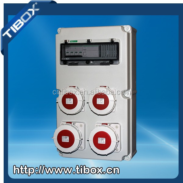 5P 400V 520*300*160 industrial plastic power distributing socket box with 32A ,63A sockets