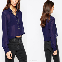 Sexy Long Sleeve navy Chiffon Blouse for Sexy Women Made in China 2015