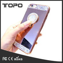 Finger support soft tpu mirror Glitter diamond Phone Case for iPhone X 5 6 7 8 plus