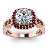 SJFD147 Latest Design Brass Rose Gold Plating Red Corundum Round Cut Big Clear Cubic Zircon Women Split Intwerwined Wedding Ring