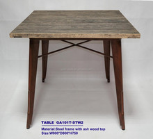 Steel Legs With Teak Wood Top,Square Table GA101T-STW1 For Trade Assurance