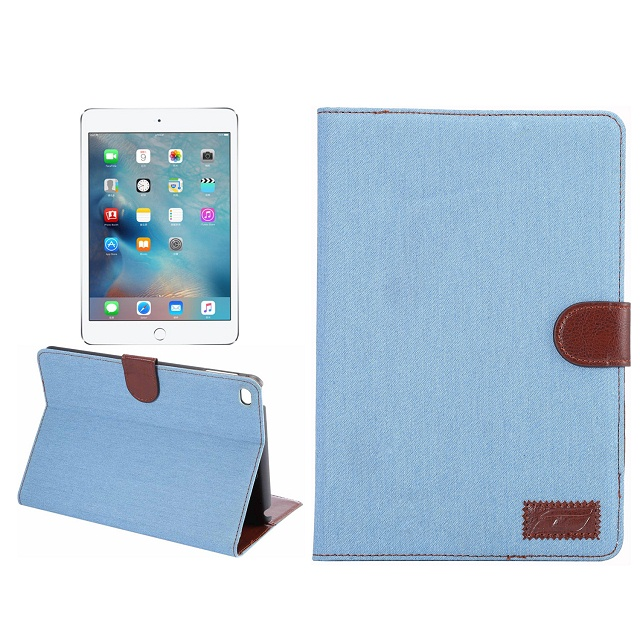 Jeans Leather flip cover + PC case for iPad Mini 4, for tablet ipad mini 4