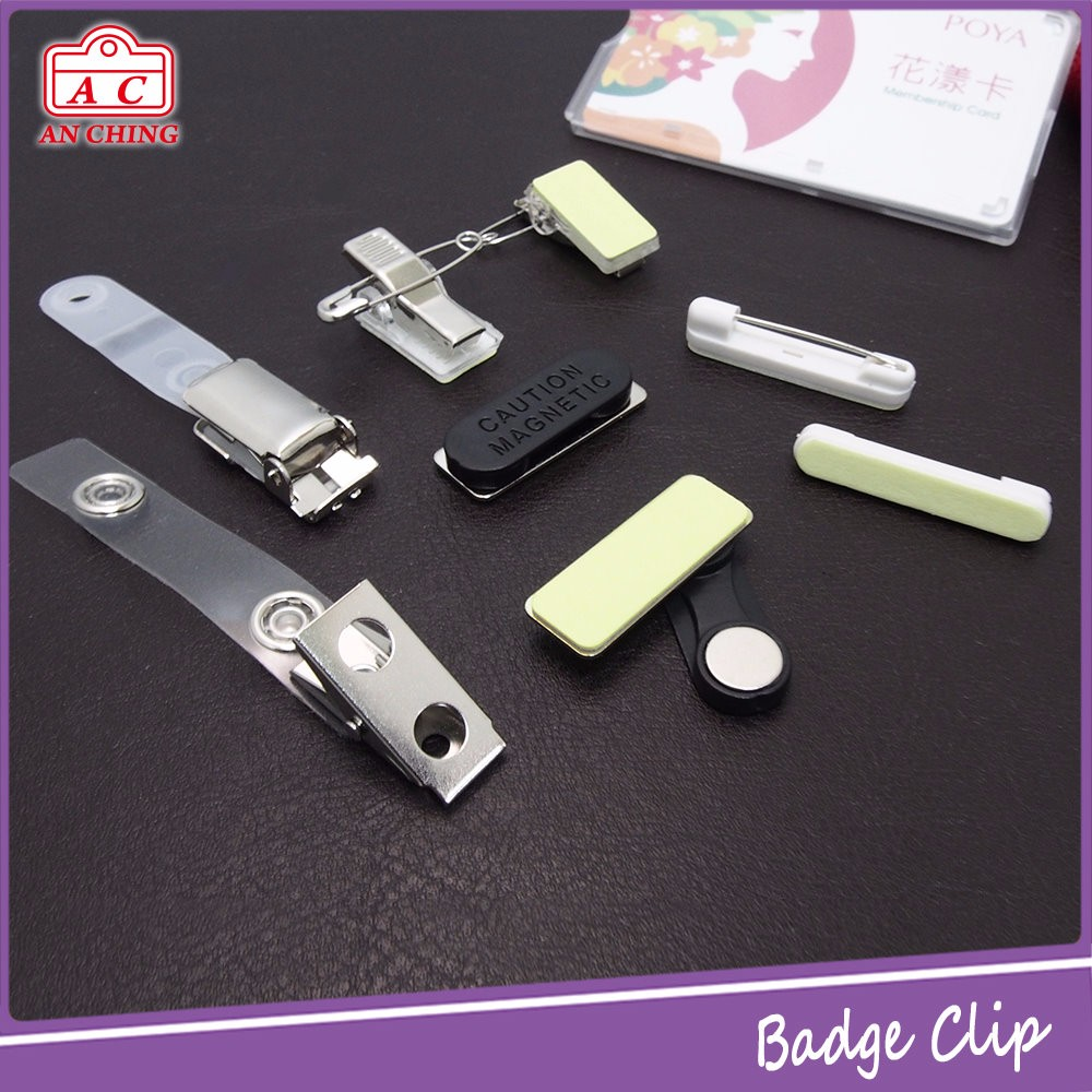 High quality name magnet metal badge clip safety pin