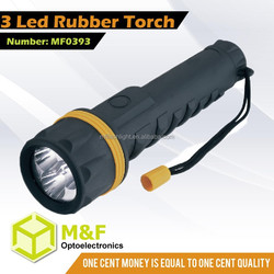 Cheapest Plastic Flash LED Light Night Vision Rubber 3 LED Flashlight Torch
