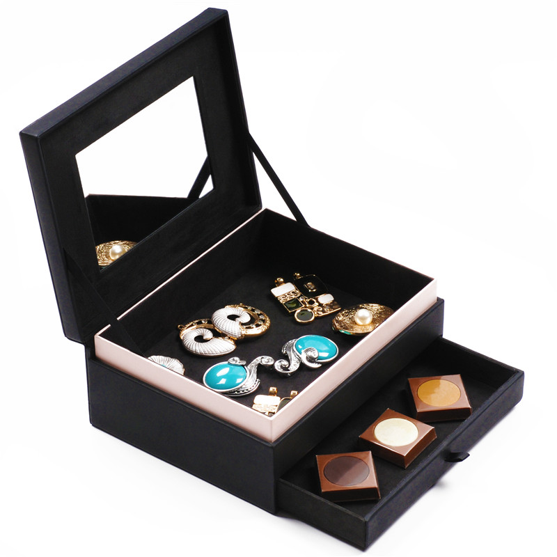 Luxury Faux Leather Wooden Jewelry Box With Mirror And Drawer For Display