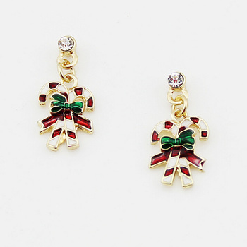 2017 fashion jewelry earrings christmas enamel double walking stick drop earring