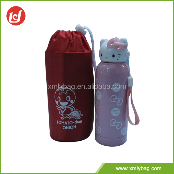 Popular sales red settle bottle cup drawstring polyester mini cooler bags