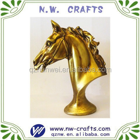 Gold resin horse head crafts