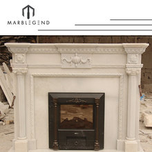 New Fashion Victorian Style Antique White Marble Electric Imperial Fireplace