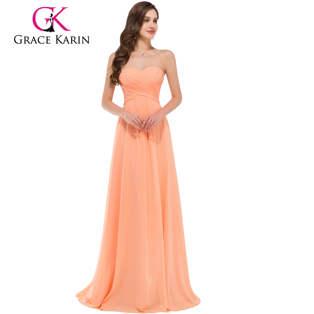 Grace Karin Strapless Sweetheart Light Orange Floor Length