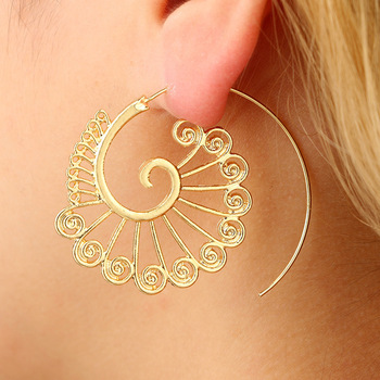 AP38077 Fashion Circles Round Unisex Earrings Jewelry Stylish Exaggerate Spiral Swirl Brass Hoop Earrings