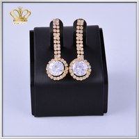 fashion small gold plated crystal rhinestone diamond pendant earrings simple gold earring designs for women
