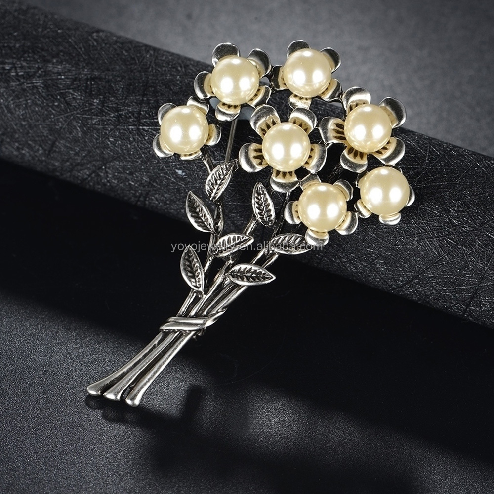 Wholesale Bulk Women Fancy Jewelry Vintage Pearl Brooch Artificial Flower Dress Brooch