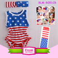 New Arrival Baby Girl Clothes Romper Kids Pom Pom Jumpsuit Soft Baby Knit Cotton Wholesale 4th Of July Baby Romper
