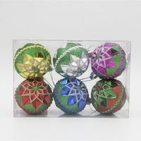 colored eco-friendly dust flower glitter pating Plastic decorating Christmas balls