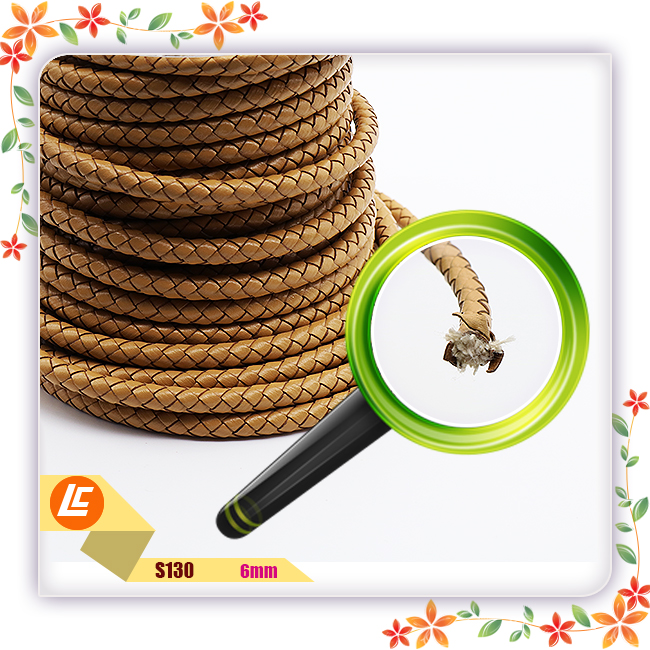 9mm strong woven round leather cord for handbag making