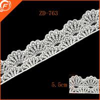 5.5cm width unique pattern cotton embroidery trim lace
