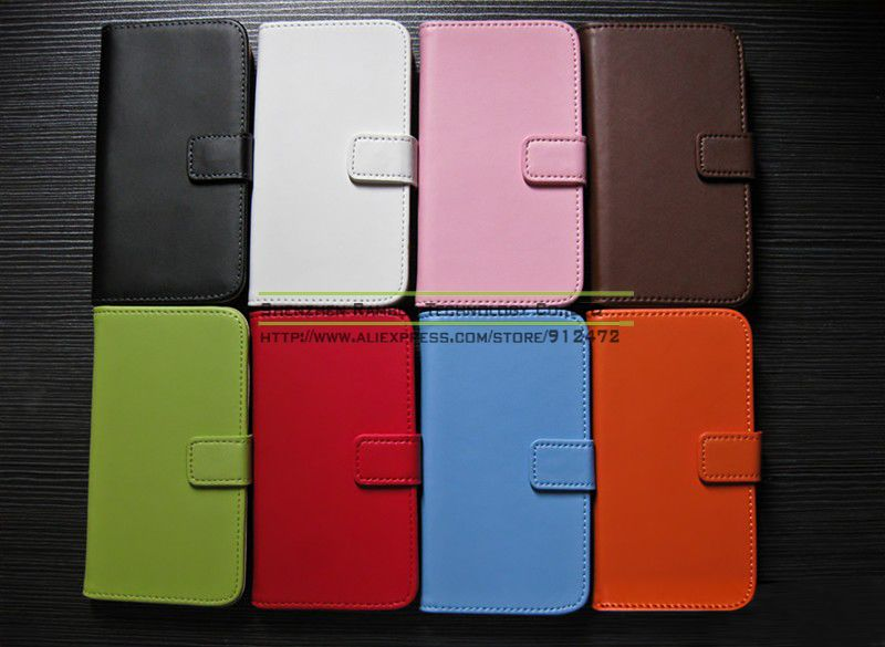 Genuine Leather Wallet Flip Shell Cover with Stand Leather Protector Cases Cover for Samsung Galaxy S4 Mini i9190