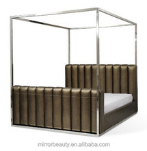 2014 hotsale beds with stainless steel pillar and leather