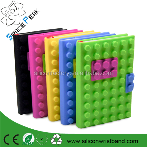 Cheap book legos A5/A6/A7 size custom logo Creative Stationery Notepad Notebook Dairy Dot 3D block Cover with silicone cover