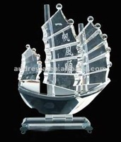 Clear crystal ship for business gifts/crystal ship model