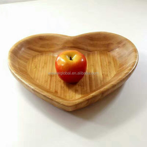 Customized heart sharp bamboo serving mixing bowl